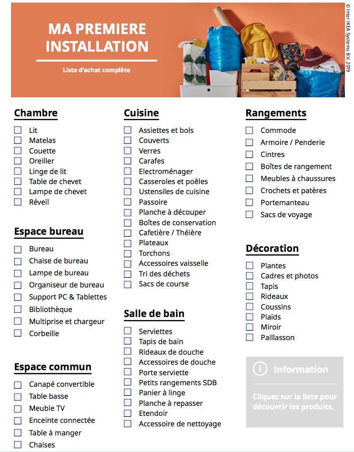 IKEA propose des checklists à ses clients pour les aider à emménager dans un premier appartement avec un petit budget
