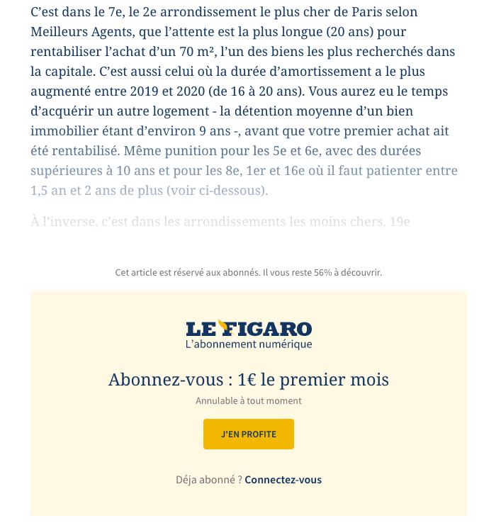 Un exemple de paywall sur le site Le Figaro