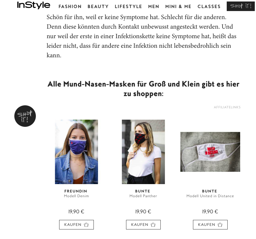 Un exemple de e-commerce embarqué avec la solution Tipser sur le site InStyle.de
