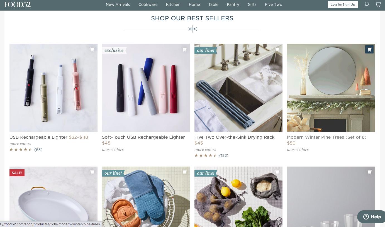 Le site Food52.com développe des produits en interne, pour les vendre directement sur leur site