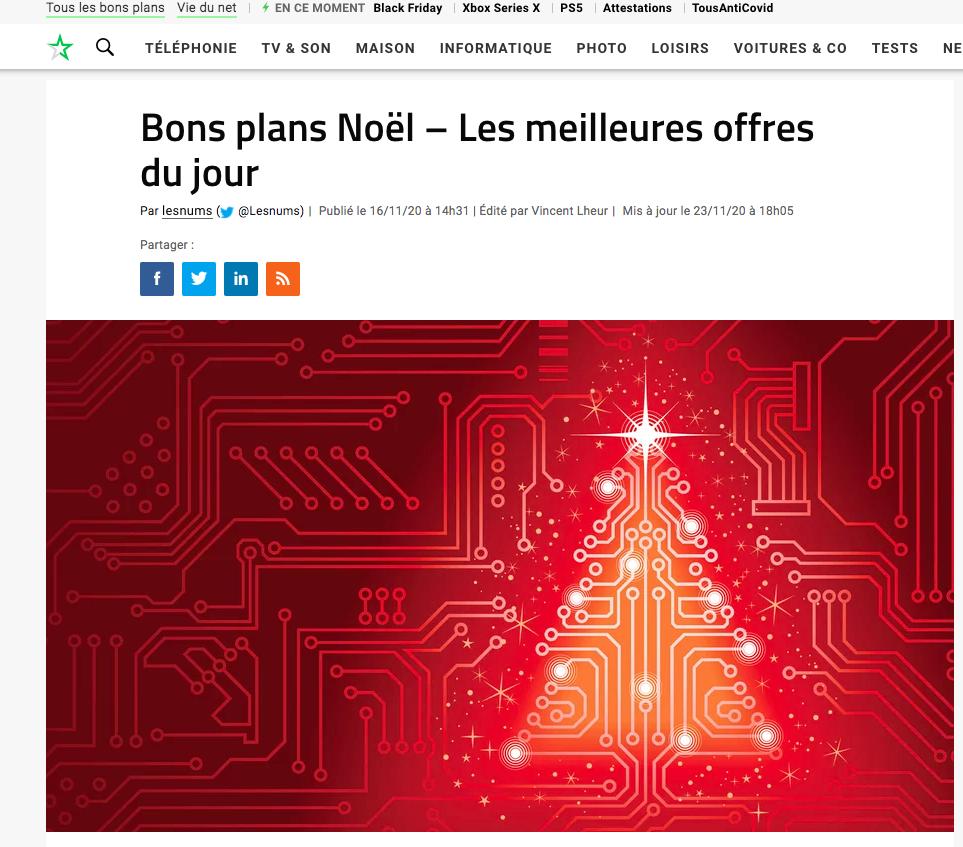 """La rubrique Black Friday chez Les Numériques mentionne les """"Bons Plans Noël"""""""