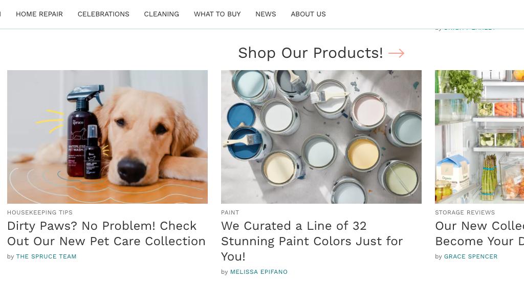 Le site TheSpruce.com lance des produits en vente sur des sites e-commerce