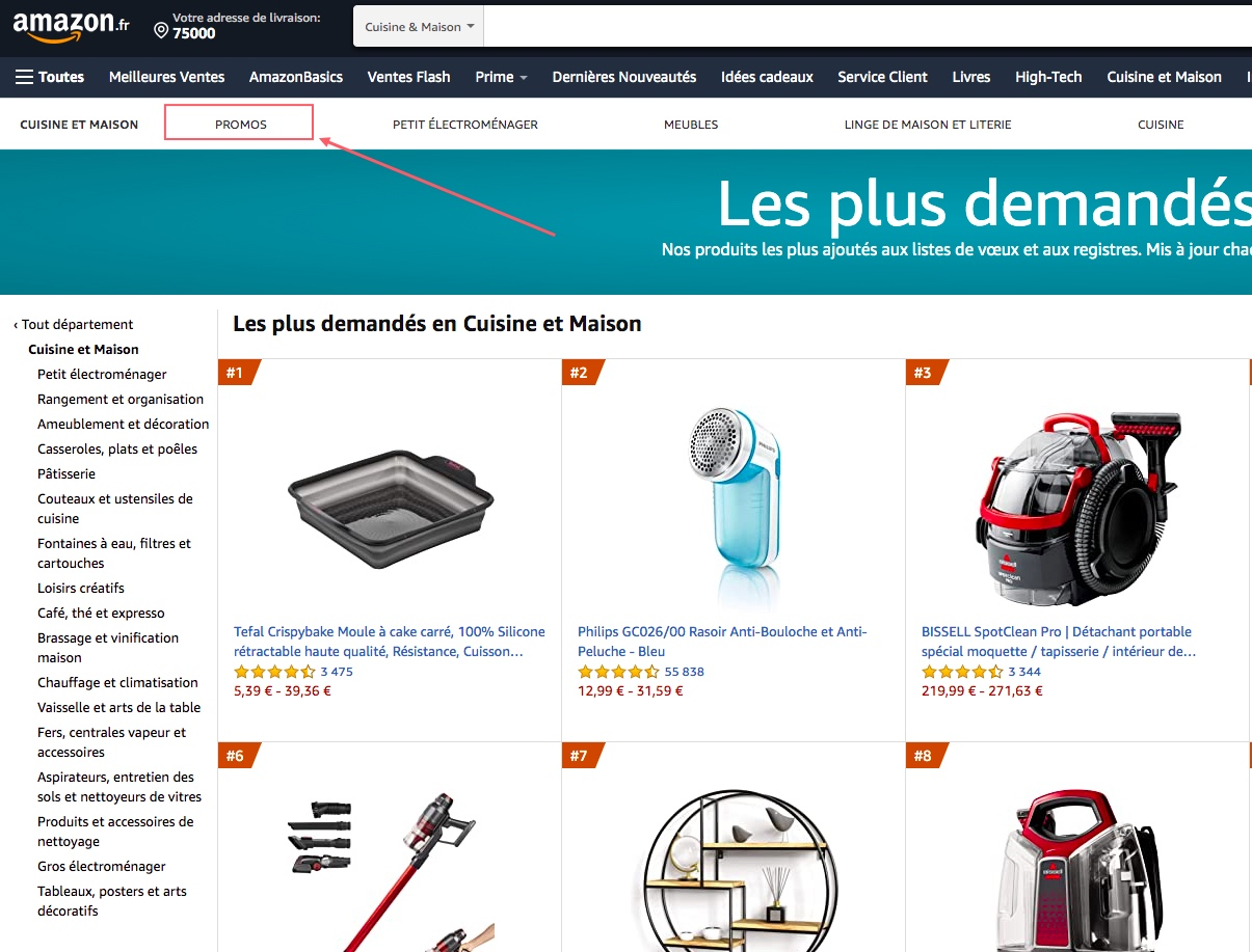 La rubrique promo Amazon