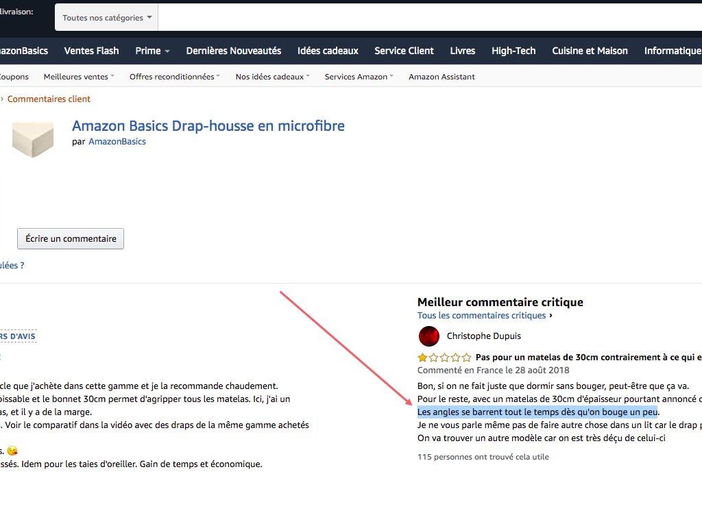 Les commentaires et avis négatifs des produits sur Amazon